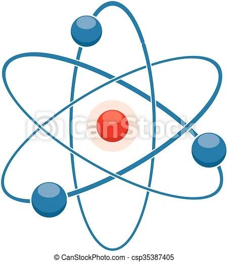 Vector flat icon of abstract atom or molecule model  - molecule vs atom