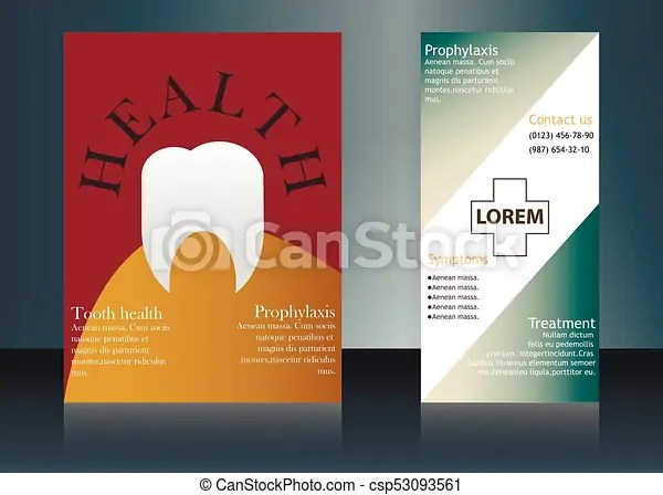 Vector health care brochure for clinic with doctors medical clip