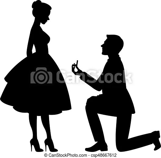 Girl Proposes To Boyfriend Wallpaper Vector Illustration A Man On His Knees Makes A Proposal