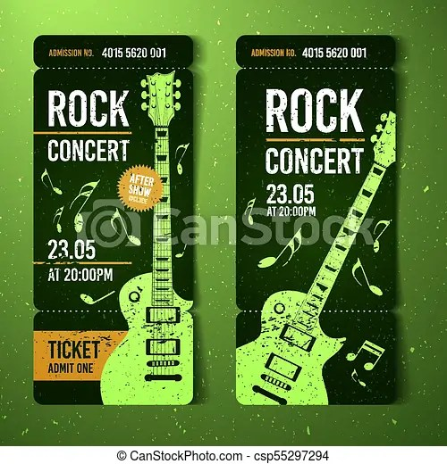 Vector illustration green rock concert ticket design template with