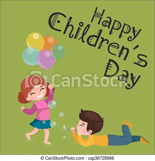 Vector illustration kids playing, greeting card happy childrens day