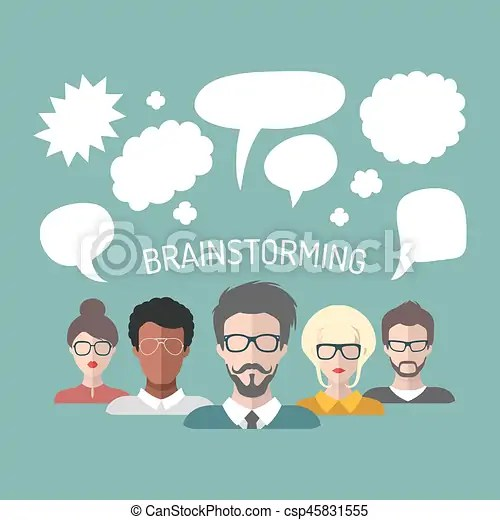 Vector illustration of brainstorming with people and speech bubbles