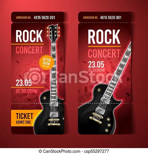 Vector illustration red rock concert ticket design template with - concert tickets design