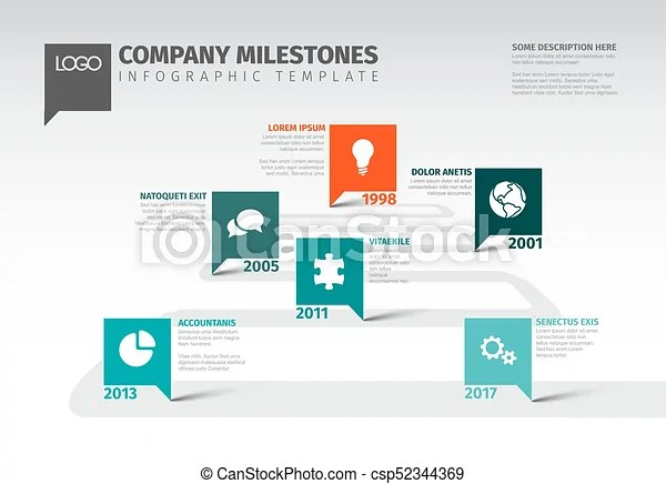 Vector infographic company milestones timeline template with square