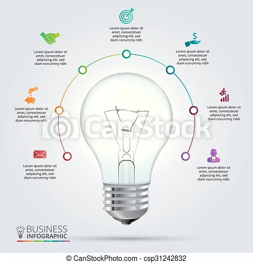 Vector light bulb for infographic Vector light bulb with circle