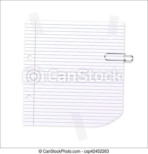 Vector lined paper Lined writing paper with clear tape and paperclip