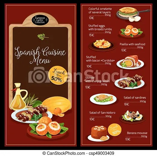 Vector lunch menu template for spanish cuisine Spanish vector