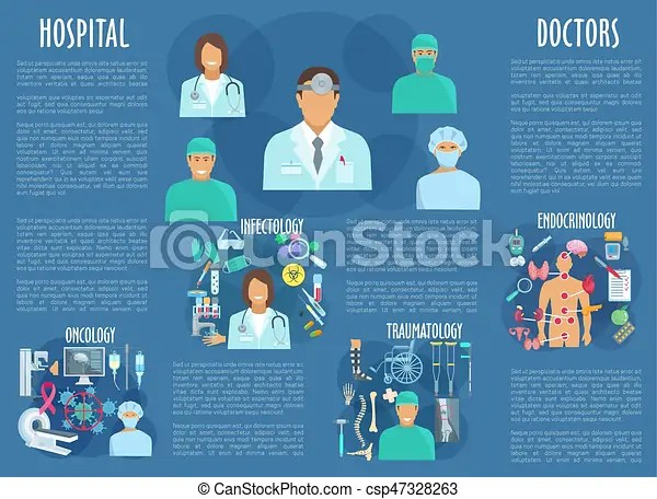 Vector medical poster with hospital doctors Medical personnel and