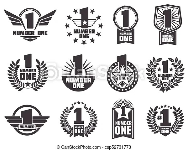 Vector number one retro corporate identity logos and labels set of