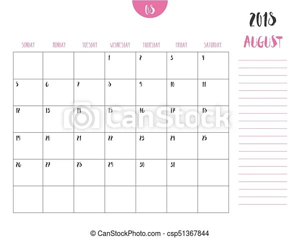Vector of calendar 2018 ( august ) in simple clean table style with