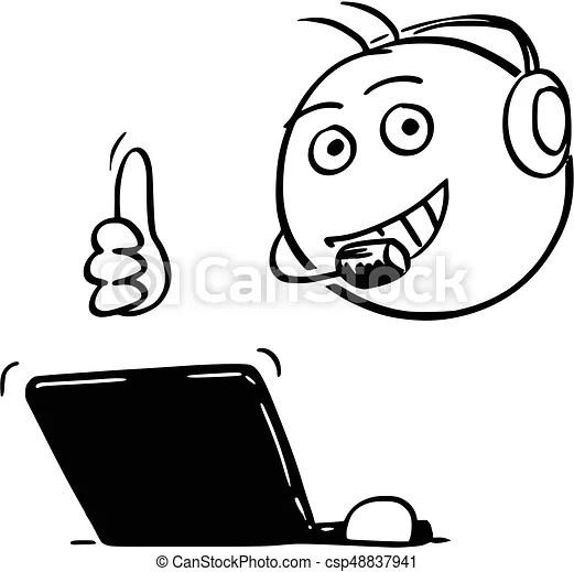Vector stick man cartoon of male customer support service eps