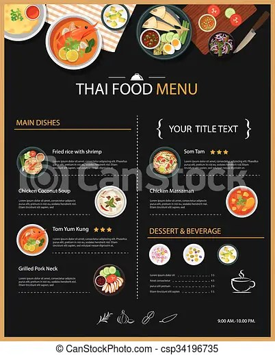 Vector thai food restaurant menu template flat design - food menu template