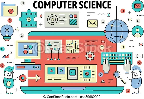 Vector thin line computer science poster banner Computer science