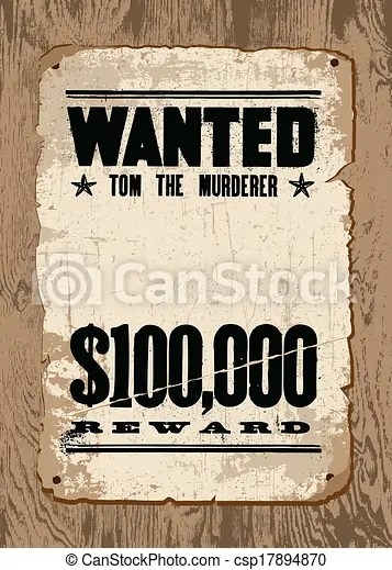 Vector wanted poster on wood Easy to edit! vector vintage