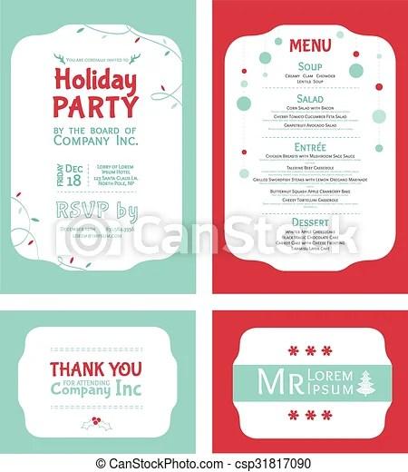 Vector winter holiday party invitation set light blue red eps - holiday party invitation