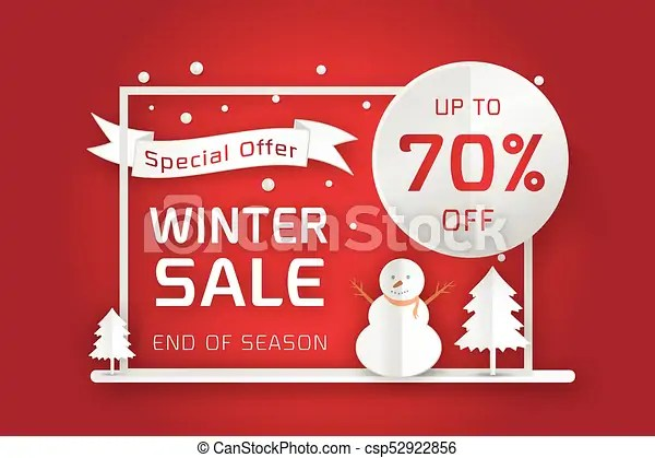Vector winter sale poster template smiling snow man in scarf and