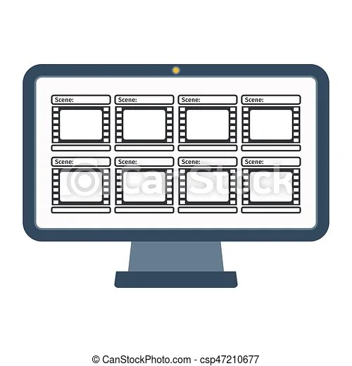 Video production computer Storyboard template in form of a film on