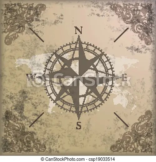 Vintage background edge ornaments compass world map Vintage