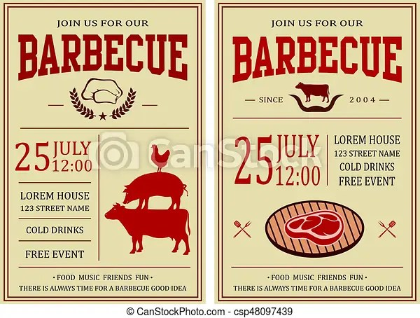 Vintage barbecue party invitation bbq, food flyer template vector