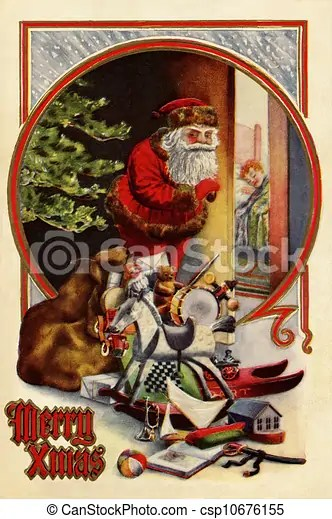 Vintage christmas card of santa claus with gifts;checking to see if