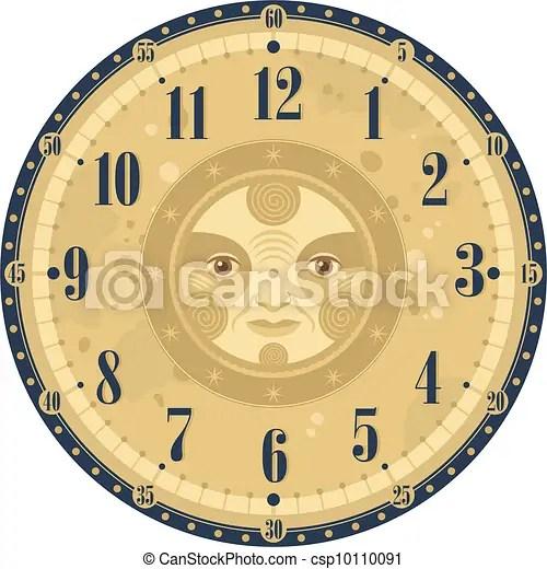 Vintage clock face template with decorative sun eps vectors - Search