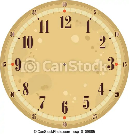 Vintage clock face template with old background vector - Search Clip