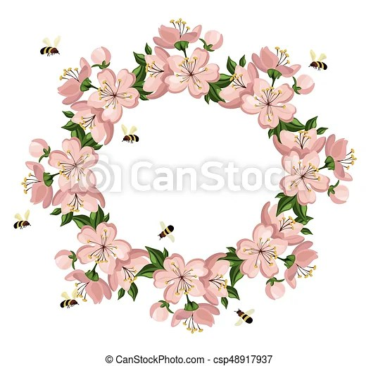 Vintage colorful floral crown vector summer cherry blossom - cherry blossom animated