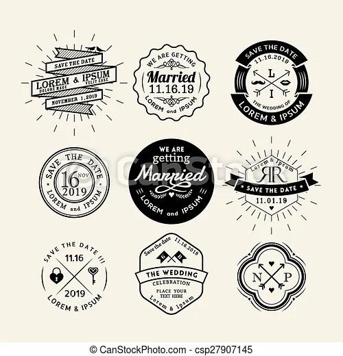 Vintage retro wedding logo frame badge design element Vintage retro