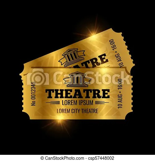 Vintage theatre tickets vector template vector golden tickets - ticket paper template