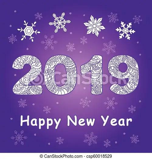 Violet new year card with patterned 2019 New year festive card with