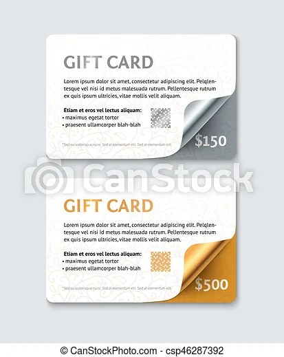 Voucher gift card template coupon mock up with gold and silver curl