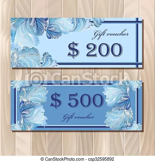 Voucher, Gift certificate, Coupon template for invitation, banner, ticket - money coupon template
