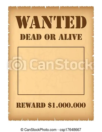 Wanted poster isolated on white background clip art vector - Search