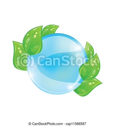 Water bubble with eco green leaves Illustration water bubble with