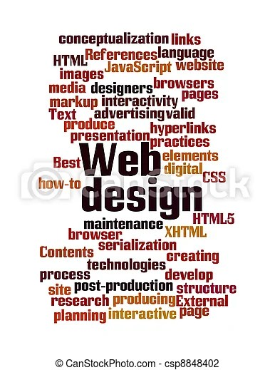 Web design word cloud isolated Word cloud illustration of web