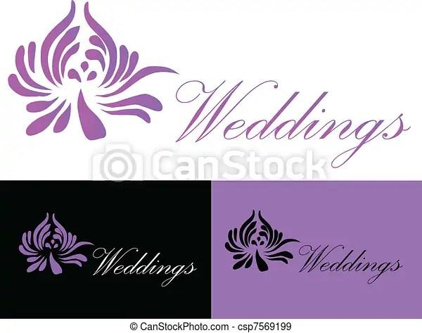 Wedding Card Invitation Logo Black Purple And White