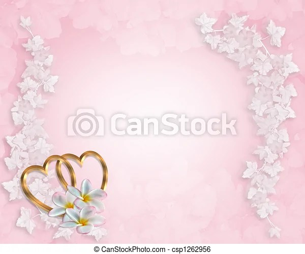 Wedding invitation background pink  3d illustrated gold hearts and