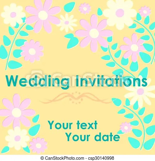 Wedding invitation card whith flowers on yellow background