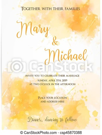 Wedding invitation template with watercolor blots Wedding