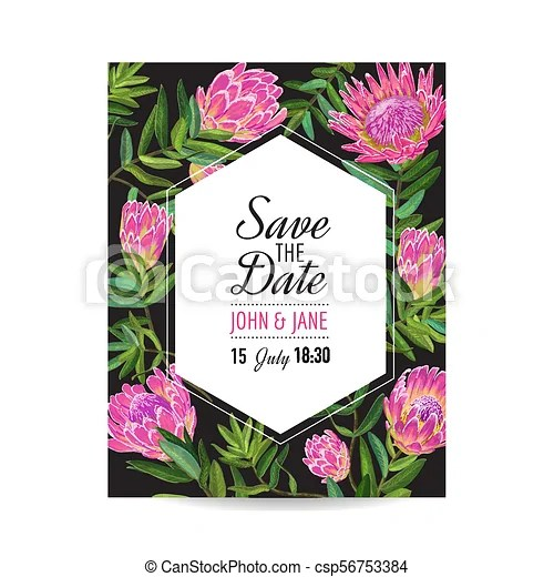 Wedding invitation template with pink protea flowers save the date