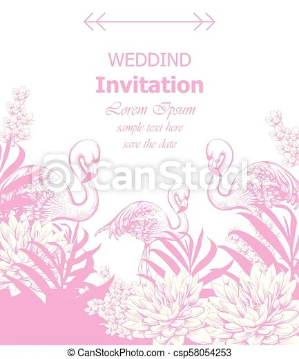 Wedding invitation vector with summer tropic theme pink color