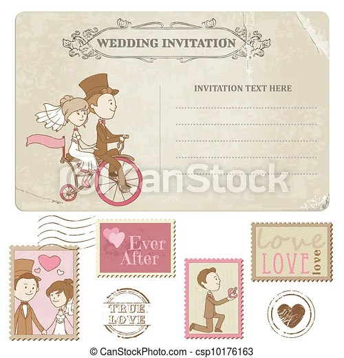 Wedding postcard and postage stamps - for wedding design, invitation