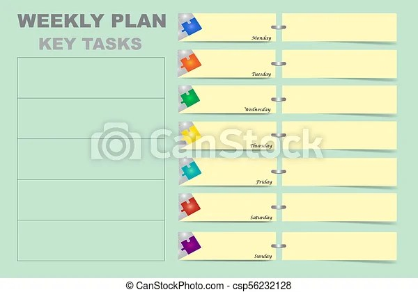 Weekly schedule with a chart for key tasks vector Weekly schedule - weekly schedule charts