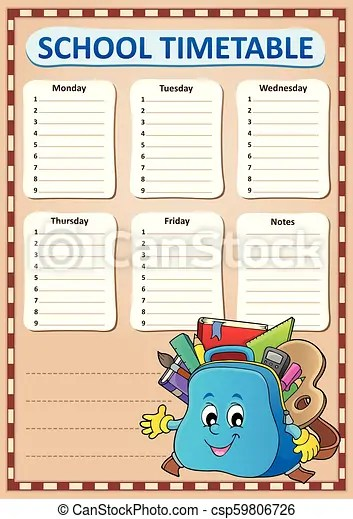 Weekly school timetable template 4 - eps10 vector illustration