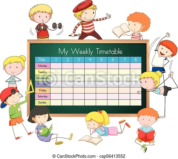 Weekly timetable with boys and girls illustration