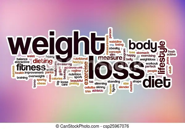 Weight loss word cloud with abstract background Weight loss word