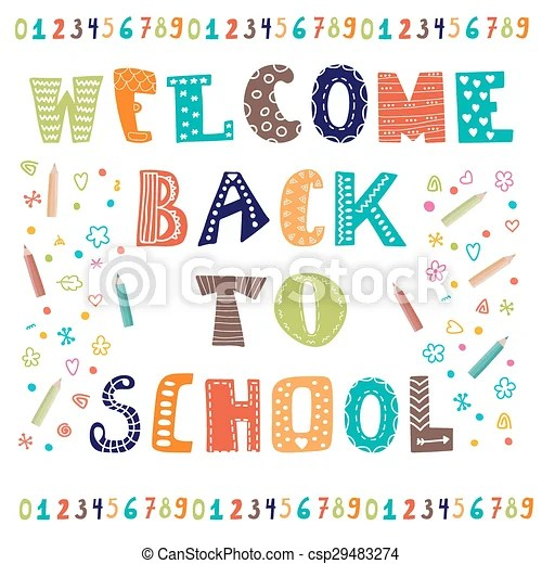 Welcome back to school greeting card back to school design - welcome back template