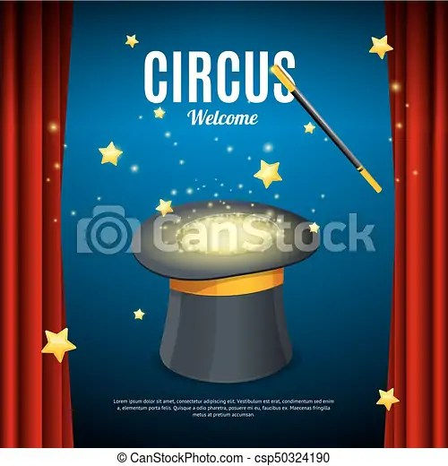 Welcome to circus poster card template vector Welcome to eps