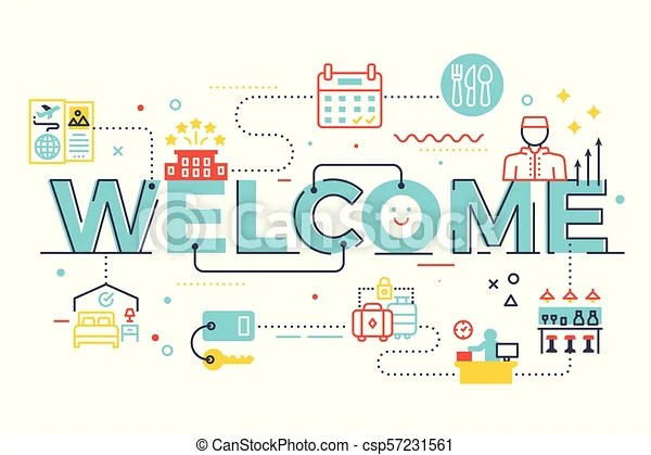 Welcome word lettering illustration with icons for web banner