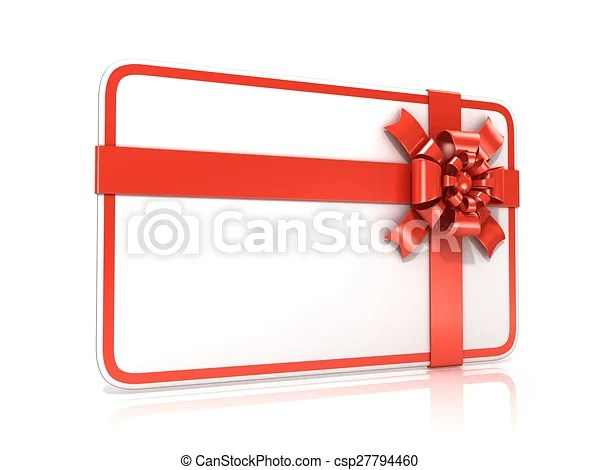 White blank gift card, with red ribbon 3d render illustration